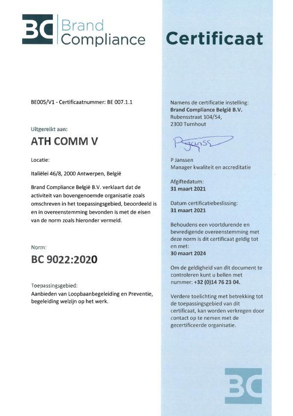 certificaat WSE kwaliteitslabel Vlaamse Overheid dienst welzijn en preventie op het werk en loopbaanbegeleiding